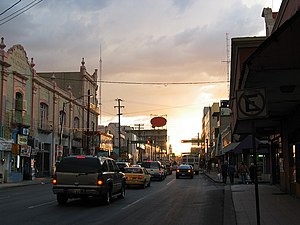 Ciudad Juárez at dusk looking west toward Misi...