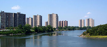 Co-op City, as seen from the east, sits along the Hutchinson River.