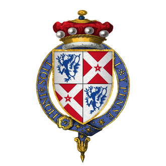 William Neville, 1st Earl of Kent - Arms of Sir William Neville, 6th Baron Fauconberg, at the time of his installation into the Most Noble Order of the Garter