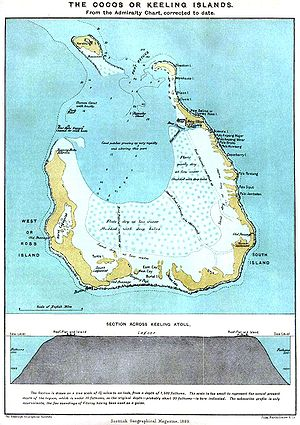 Cocos (Keeling) Islands - 1889 map of South Keeling Islands.