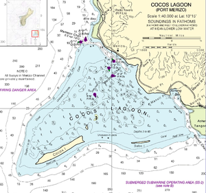 Cocos Island (Guam) - NOAA nautical chart of Cocos Lagoon, with Cocos Island in the southwest (lower left)