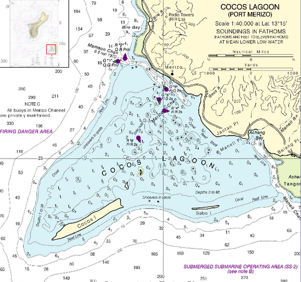 NOAA nautical chart of Cocos Lagoon