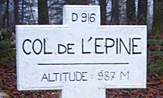 Chaîne de l'Épine - Sign at the top of the Col de l'Épine.
