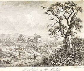 Landscape with figures by Lingelbach