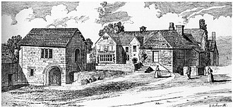 Colleton, Chulmleigh - 1892 signed drawing by the ecclesiastical architect Edward Ashworth (1815–1892) of his childhood home Colleton Barton, Chulmleigh, Devon. View from south-east
