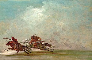 Comanche - War on the plains. Comanche (right) trying to lance Osage warrior. Painting by George Catlin, 1834
