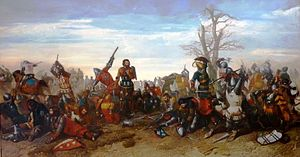 "War of the Breton Succession - A 19th-century painting depicting the ""combat of the thirty"" (Octave Penguilly L'Haridon, 1857)"