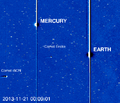 Comet ISON makes its appearance into the high-res HI-2 camera on the STEREO-A spacecraft.png
