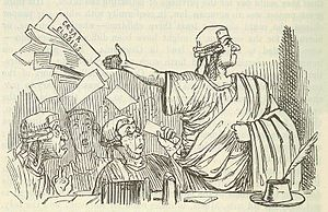 O tempora o mores! - Cicero throws up his brief like a Gentleman, by John Leech, from: The Comic History of Rome by Gilbert Abbott à Beckett.