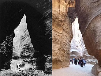 Petra - Petra siq in 1947 (left) compared with the same location in 2013