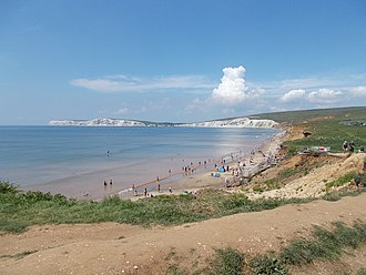Compton Bay - The beach at Compton Bay, looking west