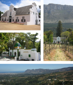 Top left: Groot Constantia. Middle left: The kramat of Sheik Abdurachman Matebe Shah in Klein Constantia. Right: The Cape Dutch homestead at Buitenverwachting. Bottom: a view of Constantia from Constantia Neck.