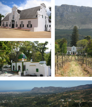 """Top left: Groot Constantia. Middle left: The <a href=""""http://search.lycos.com/web/?_z=0&q=%22Mazar%20%28mausoleum%29%22"""">kramat</a> of Sheik Abdurachman Matebe Shah in <a href=""""http://search.lycos.com/web/?_z=0&q=%22Klein%20Constantia%22"""">Klein Constantia</a>. Right: The <a href=""""http://search.lycos.com/web/?_z=0&q=%22Cape%20Dutch%20architecture%22"""">Cape Dutch</a> homestead at Buitenverwachting. Bottom: a view of Constantia from Constantia Neck."""