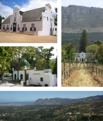 Constantia, Cape Town - Top left: Groot Constantia. Middle left: The kramat of Sheik Abdurachman Matebe Shah in Klein Constantia. Right: The Cape Dutch homestead at Buitenverwachting. Bottom: a view of Constantia from Constantia Neck.
