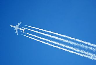 Chemtrail conspiracy theory - A high-flying jet's engines leaving a condensation trail (contrail)