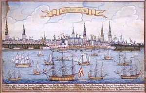1786 in Denmark - Copenhagen in 1786, gouache by M. Bang