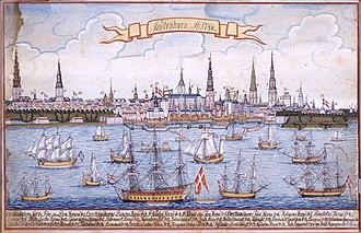 1786 in Denmark - Copenhagen in 1786, gouache by M. Bang