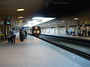 Copenhagen Airport - Train towards Copenhagen Central Station at the Copenhagen Airport train station.