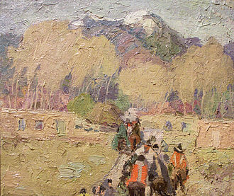 Impasto - Taos Mountain, Trail Home by Cordelia Wilson (1920). An early 20th century landscape entirely executed with a bold impasto technique.