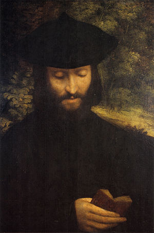 Jewish meditation - Portrait of a praying unknown man by Correggio, c. 1525.