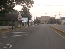 Downtown Oberlin with the Allen Parish Courthouse in the background