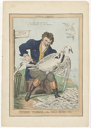 Robert Seymour (illustrator) - An 1829 political caricature of Thomas Peel by Robert Seymour