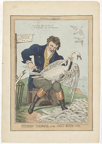 Thomas Peel - No photograph or portrait of Thomas Peel is known to exist. This is a contemporary caricature.