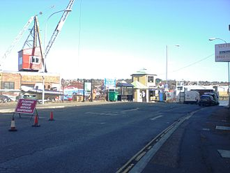 Cowes Floating Bridge - The floating bridge suspended during an annual refit
