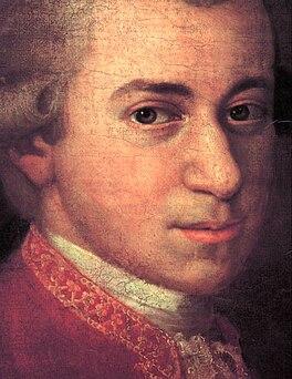 Mozart, detail van portret door Johann Nepomuk della Croce, 1780