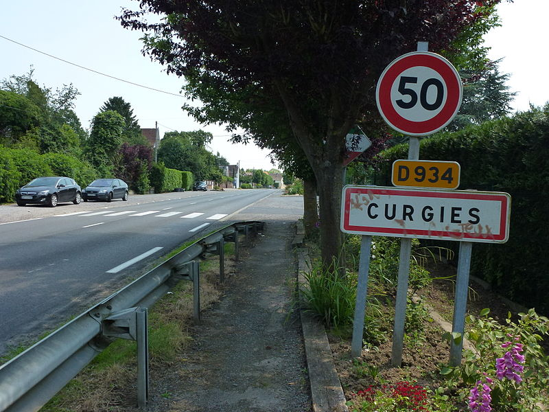 Curgies (Nord, Fr) city limit sign
