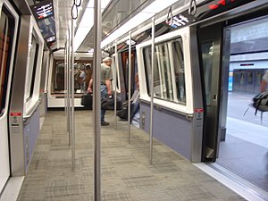 Denver International Airport Automated Guideway Transit System - The interior of the Innovia APM 100 vehicles