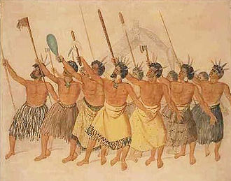 History of Oceania -  Māori war dance, New Zealand, circa 1850