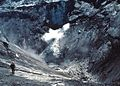Dave Johnston going into Mount St. Helens crater to sample lake, 30 April 1980 (USGS) cropped.jpg