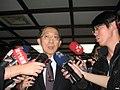 David Lin with Era News, FTV News and RTI microphones 20130304.jpg