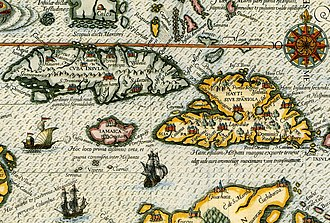 Watts' West Indies and Virginia expedition - Image: De Bry Map of Caribbean & Florida 1594