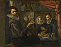 De schilder in zijn werkplaats bezig met het portretteren van een echtpaar Rijksmuseum SK-A-889.jpeg