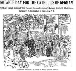History of St. Mary's Church (Dedham, Massachusetts) - A drawing from page 7 of the September 10, 1900, issue of the Boston Daily Globe depicting the Dedication of St Mary's Church in Dedham, Massachusetts