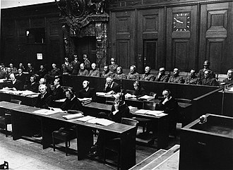 "Hubert Lanz - The defendants of the ""Southeast Case"" in the dock at Nuremberg. Lanz is third from left in the back."