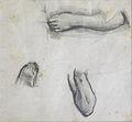 Dehodencq A. - Pencil - Feuille d'étude de bras et pied - 17.1x18cm.jpg
