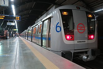 Rapid transit - Coaches of Delhi Metro are color-coded to indicate each line or service, with named icons to indicate stations.