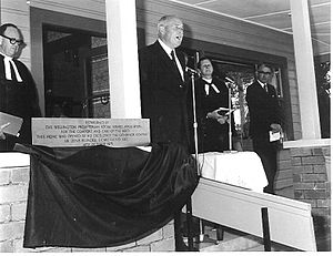 Denis Blundell - Sir Denis Blundell opens Reevedon Home, Levin, on 18 October 1975.