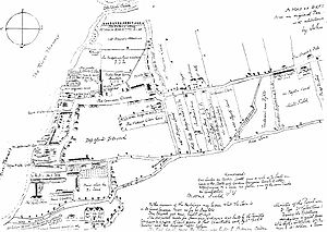 "Deptford Dockyard - The Deptford area on a map owned in 1623 by John Evelyn, a resident of the area. Evelyn's house, Sayes Court, is at the bottom left. Above it is marked ""The K's Ship Yard"", the location of the expanding Deptford Dockyard."
