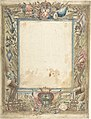 Design for a Frame with Armorial Trophies, the Medici Coat of Arms and a Second Coat of Arms, possibly of the Alberighi Family (?) MET DP802960.jpg