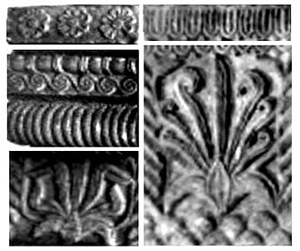 Pataliputra capital - The Classical designs on the Pataliputra capital include rosettes, bead and reels, waves, beaded moldings, volutes with inserted rosette, and stylicized flame palmette.