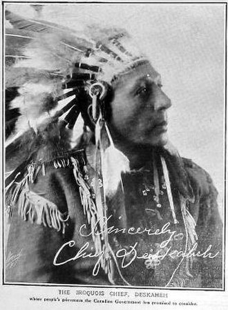 Deskaheh - Photograph of Chief Deskaheh appearing in 'The Graphic', 1922