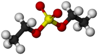 Space filling molecular structure of diethyl sulfate.