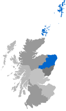 Map showing Aberdeen & Orkney as a coloured area covering the area around Aberdeen, with Orkney and Sheltand