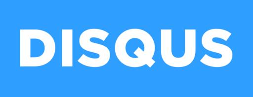 Disqus logo - white on blue background 1024x394