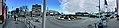 Distorted (compressed) panorama of Leirvik, Stord, Norway. Roundabout by harbour, Osen, Torgbakken, Nattrutekaien, Matkroken, Samson på Kaien, etc. 2018-03-06 a.jpg