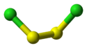 Ball and stick model of disulfur dichloride
